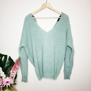 Forever 21 Ribbed Knit Twisted Back Green Sweater